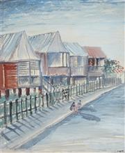 Sale 8976A - Lot 5049 - Laurence Hope (1928 - ) - Queensland Terrace With Figure 33.5 x 27 cm (frame: 45 x 40 x 2 cm)