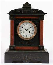 Sale 9010 - Lot 82 - French Black Marble and Slate Mantle Clock with Rouge Marble Insert Panels (H:44cm,)