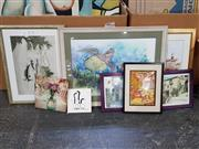Sale 9004 - Lot 2089 - Group of Assorted Original Watercolours and Decorative Prints and a Ceramic Tile.