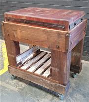 Sale 9056 - Lot 1013 - Large Butchers Block on Castors with Shelf Below (H:92 W:84 D:57cm)