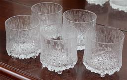 Sale 9155H - Lot 45 - A set of five Iittala glass tumblers Height 8.5cm