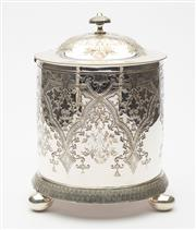 Sale 8620A - Lot 85 - A very pretty antique Roberts and Belk silverplate biscuit barrel c. 1890s, the body and lid with extensive decoration of florals an...