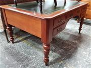 Sale 8814 - Lot 1023 - Late 19th Century Cedar Desk, with tooled green leather top, five drawers & turned legs