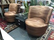 Sale 8868 - Lot 1605 - Pair of Modernist Copper Coloured Tub Chairs