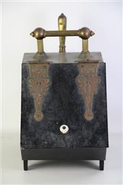 Sale 8905S - Lot 638 - A cast metal coal scuttle with brass mounts, 40cm x 44cm