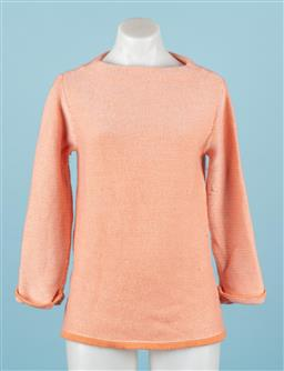 Sale 9092F - Lot 86 - A BODEN MOCK TURTLENECK CASUAL JUMPER; in orange and white cotton with 3/4 sleeves, size 12