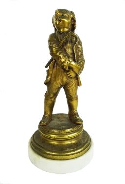 Sale 9150J - Lot 61 - Antique French gilt bronze statue of a boy on marble base - overall Ht: 25 cm