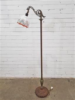 Sale 9157 - Lot 1040 - Early brass floor lamp with cast iron base (h153cm)