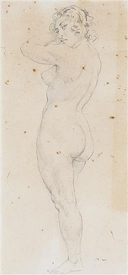 Sale 9195 - Lot 550 - NORMAN LINDSAY (1879 - 1969) Amanda pencil (AF) 36.5 x 17 cm (frame: 56 x 34 x 3 cm) intialled lower right. Bloodfield Galleries lab...