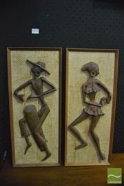 Sale 8350 - Lot 1078 - Pair of Retro Decor-Aid Dancing Figures in Relief - original stickers to back