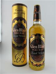 Sale 8367 - Lot 794 - 1x Glen Blair 12YO Pure Malt Scotch Whisky - old bottling, in canister