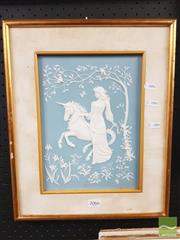 Sale 8449 - Lot 2066 - Framed Plaque of Girl & Unicorn