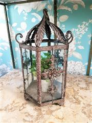 Sale 8500A - Lot 84 - A French provincial style rustic indoor/outdoor decorative lantern with glass panels & faux pot plant - Condition: As New Reproducti...