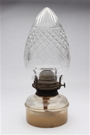 Sale 8739 - Lot 21 - Cut Glass Kerosene Lamp (H:30cm)