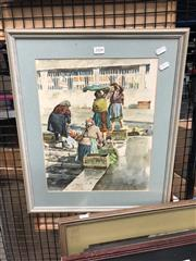 Sale 8819 - Lot 2104 - M.Fennel - Portuguese Market Scene, watercolour, SLR