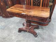 Sale 9031 - Lot 1027 - Regency Rosewood Card Table, with D shaped top, on hexagonal stepped pedestal & quadraform base