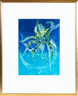 Sale 9130S - Lot 58 - Frank Hodgkinson (1919-2001), Octopus 1997, coloured etching ed. 7/85, signed lower right, 76cm x 58cm (frame 103cm x 84cm)