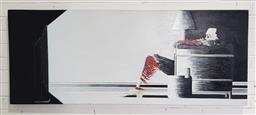 Sale 9146 - Lot 1093 - Flaming skeleton art work ( 152 x 61cm)