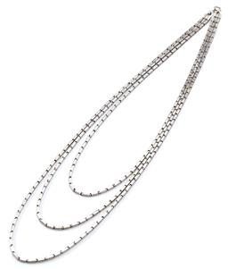 Sale 9160 - Lot 332 - A TRIPLE STRAND SILVER NECKLACE; 2mm wide bar links to bolt ring clasp, lengths 50cm, 55cm, 60cm, wt, 30.75g.