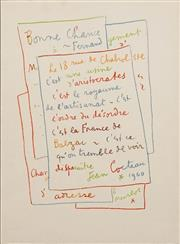 Sale 8696A - Lot 5091 - Jean Cocteau (1889-1963) - Manuscript, 1972 32.8 x 26cm