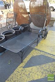Sale 8390 - Lot 1360 - Pair of Metal Patio Lounge Chairs