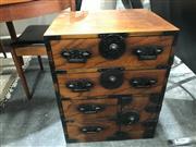 Sale 8787 - Lot 1033 - Korean Iron Bound Bedside Cabinet