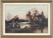 Sale 8838A - Lot 5172 - Artist Unknown (early C20th) - Waiting to Cross the River 30 x 45.5cm