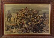 Sale 8994W - Lot 605 - Framed Oak Print Of Western Forces At War (Some Wear) (89cm x 62cm)
