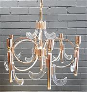 Sale 9002 - Lot 1081 - Danish Brass and Glass Pendant Light Fitting (h:47 x d:50cm)