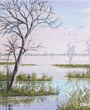 Sale 9055A - Lot 5096 - John Dynon (1954 - ) - Wetlands, Darling River near Broken Hill 29.5 x 24.5 cm (frame: 38 x 32 x 3 cm)