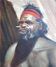 Sale 9058 - Lot 2018 - F Maher, Aboriginal Man, Oil on canvas, Signed and Dated 1970 Lower Left, 57 x 45cm
