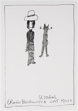Sale 9081A - Lot 5022 - Charles Blackman (1928 - 2018) - Schoolgirl with Cat, 2009 29.5 x 21 cm (frame: 79 x 69 x 3 cm)