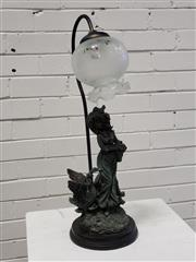 Sale 9080 - Lot 1003 - Composite Table Lamp of Young Maiden and Glass Shade, H62 -