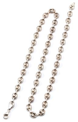Sale 9160 - Lot 383 - A GUCCI LINK SILVER CHAIN; 8mm wide links to lobster claws clasp, length 59cm, wt, 29g.