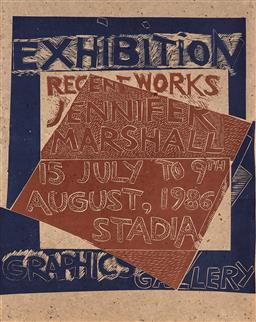 Sale 9252A - Lot 5095 - JENNIFER MARSHALL (1944 - ) Exhibition for Stadia Graphics Gallery, 1986 linocut (unframed) 80 x 62 cm unsigned