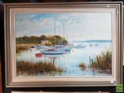 Sale 8491 - Lot 2036 - Artist Unknown Birds on the Tamar, Tasmania Oil on Canvas Board, 77x98cm SLR -