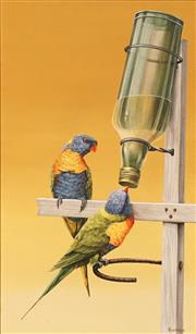 Sale 8622 - Lot 2024 - Artist Unknown - Lorikeets 49.5 x 29cm