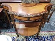 Sale 8774 - Lot 1019 - Sheraton Style Marquetry Side or Console Table, of bow fronted form, the birdseye maple top with rosewood cross-banding & fan shaped...