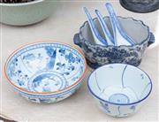 Sale 8866H - Lot 41 - Three oriental ceramic blue and white bowls, one containing three spoons, diameter of larger bowl, 17cm