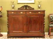 Sale 8925H - Lot 30 - An antique carved rosewood sideboard with two drawers and two doors, Height 123cm, Width 138cm, Depth 56.5cm