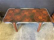 Sale 9039 - Lot 1075 - Vintage Timber and Chrome Framed Coffee Table with a Tile Top (H:40 W:108 D:55cm)