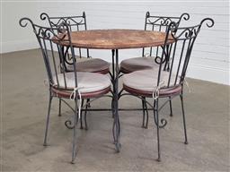 Sale 9191 - Lot 1054 - Wrought iron & timber 5 piece outdoor suite (h75 x d90cm)
