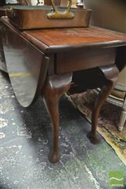 Sale 8317 - Lot 1086 - Possibly George II Mahogany Gate-Leg Table, with heavy oval top, frieze drawer & cabriole legs with hoof feet (restored finish/ repa...