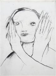 Sale 8410A - Lot 5018 - Anne Hall (1945 - ) - Untitled (Women with Raised Hands) 76.5 x 56cm (sheet size)