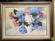 Sale 8491 - Lot 2053 - Joy Hobbs Hydrangeas Oil on Canvas on Board, 45x66cm SLR