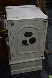 Sale 8550 - Lot 1047 - Old Metal Safe with Key on Pine Stand