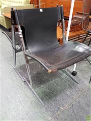 Sale 8566 - Lot 1052 - Pair of Leather & Chrome Chairs