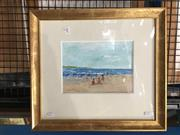 Sale 8754 - Lot 2087 - Donald Fraser - Beach Scene oil on board, 43 x 48cm (frame) signed lower left -