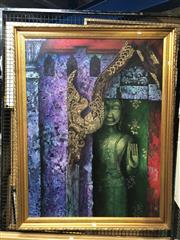 Sale 8811 - Lot 2042 - Artist Unknown - South East Asian Temple acrylic on on canvas, 188 x 88cm, signed and dated lower right