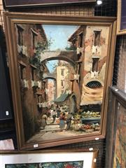Sale 8819 - Lot 2126 - Damiano - Street Scene, oil on board, SLL